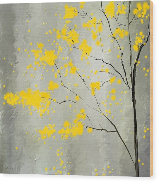 Yellow Foliage Impressionist Wood Print