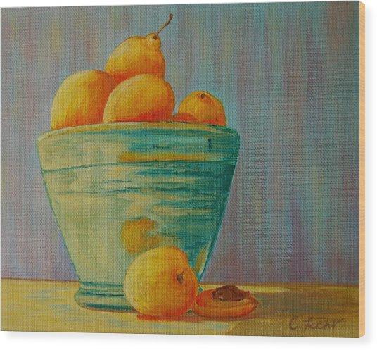 Yellow Fruit Blue Bowl Wood Print