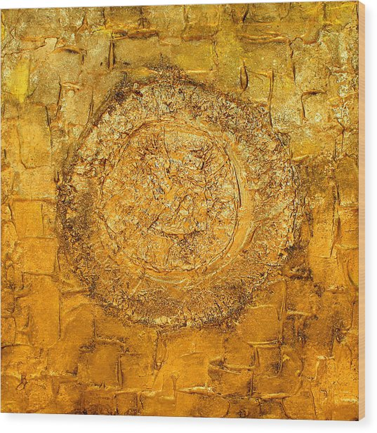 Yellow Gold Mixed Media Triptych Part 1 Wood Print