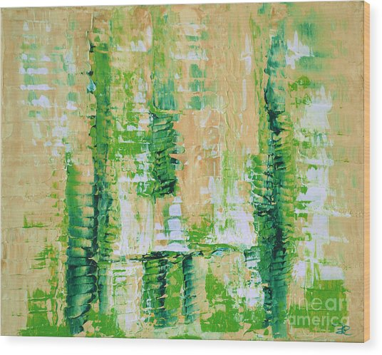 yellow green GROWTH Abstract by Chakramoon Wood Print by Belinda Capol