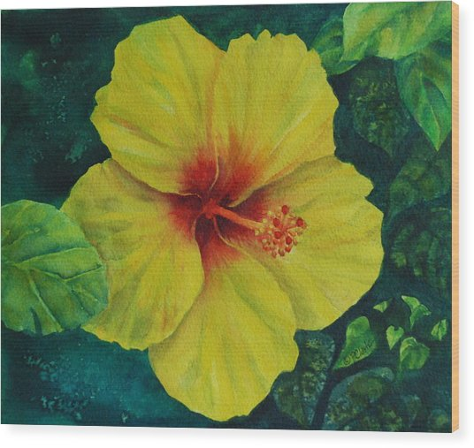Yellow Hibiscus Wood Print by Donna Pierce-Clark