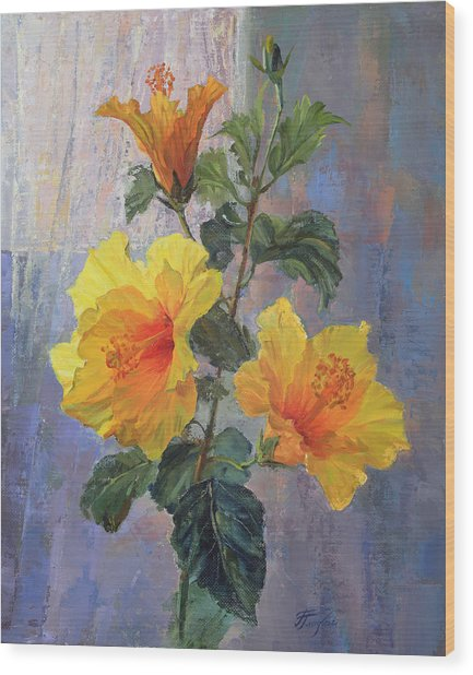 Yellow Hibiscus Flower Wood Print