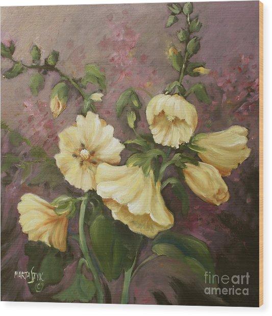 Yellow Holyhock Wood Print