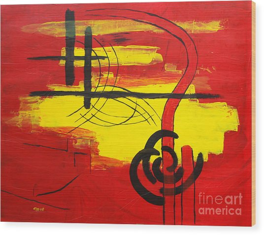 Yellow Island On Red II Wood Print by Christiane Schulze Art And Photography