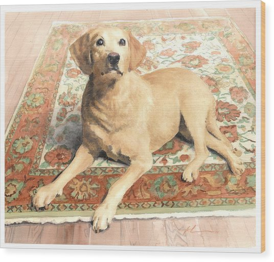 Yellow Lab On A Rug Watercolor Portrait Wood Print by Mike Theuer
