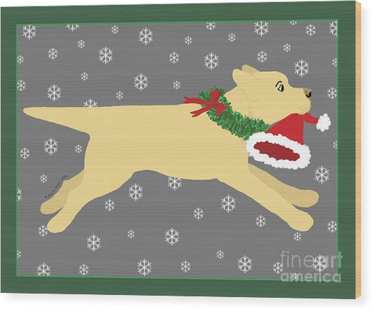 Yellow Labrador Dog Steals Santa's Hat Wood Print