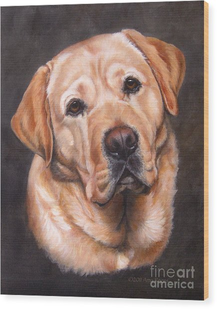 Yellow Labrador Portrait - Dark Yellow Dog Wood Print