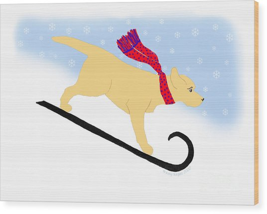 Yellow Labrador Snowboard Dog Wood Print