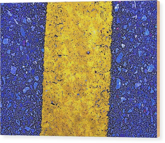 Yellow On Blue Stone Wood Print