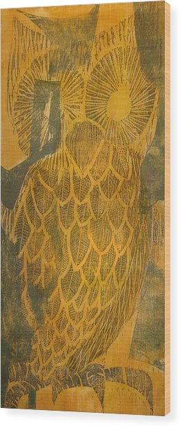 Yellow Owl Wood Print
