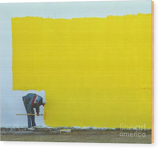 Yellow Paint Wood Print