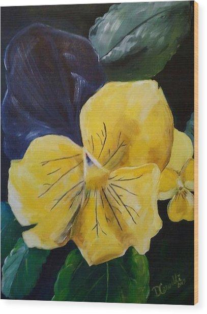 Yellow Pansy Wood Print