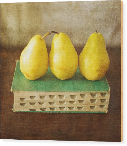 Yellow Pears And Vintage Green Book Still Life Wood Print