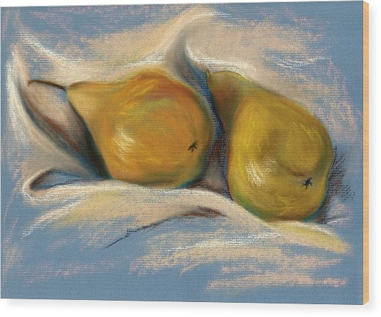 Yellow Pears On Blue Paper Pastel Drawing Wood Print