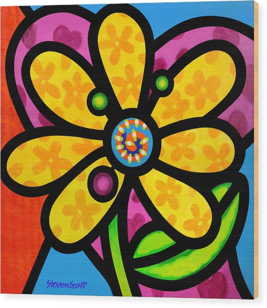 Yellow Pinwheel Daisy Wood Print