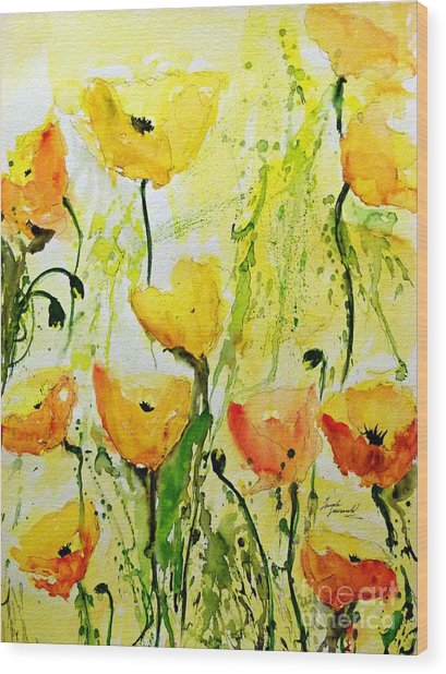 Yellow Poppys - Abstract Floral Painting Wood Print