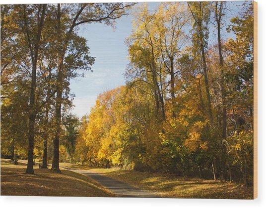Yellow Road Wood Print