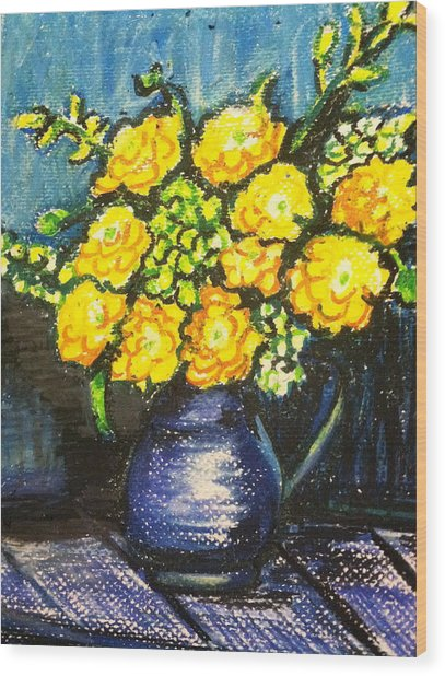 Yellow Roses In Blue Vase Wood Print