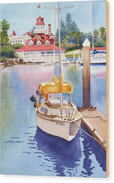 Yellow Sailboat And Coronado Boathouse Wood Print