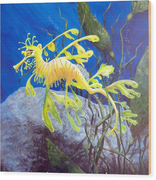 Yellow Seadragon Wood Print