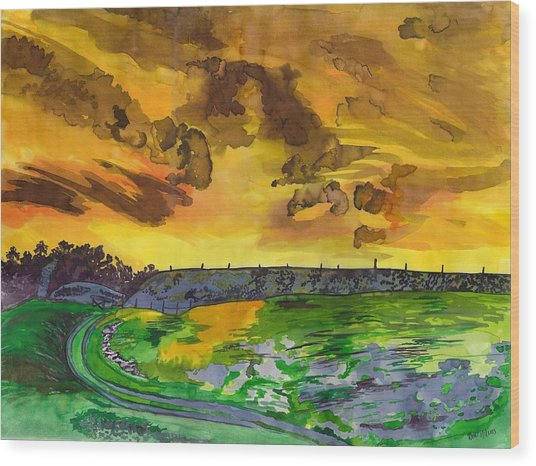 Yellow Skies Wood Print by Beverly Marshall