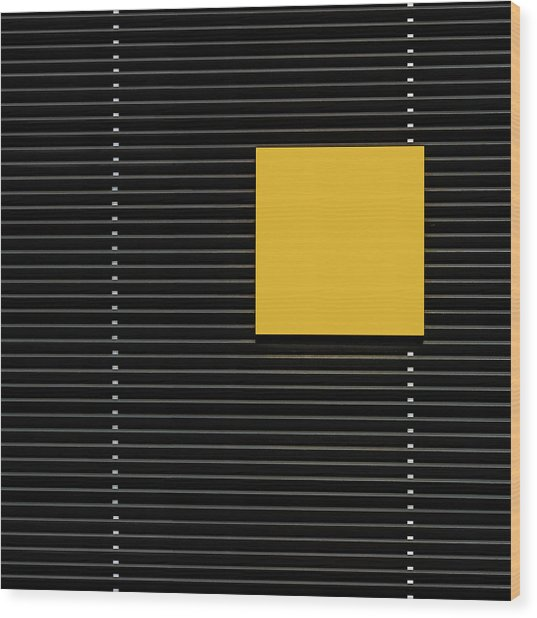 Yellow Square Wood Print