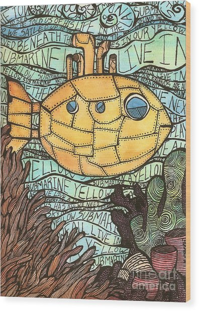 Yellow Submarine Wood Print