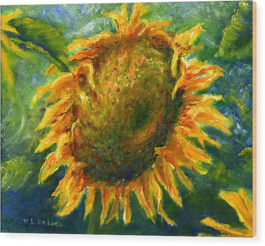 Yellow Sunflower Art In Blue And Green Wood Print