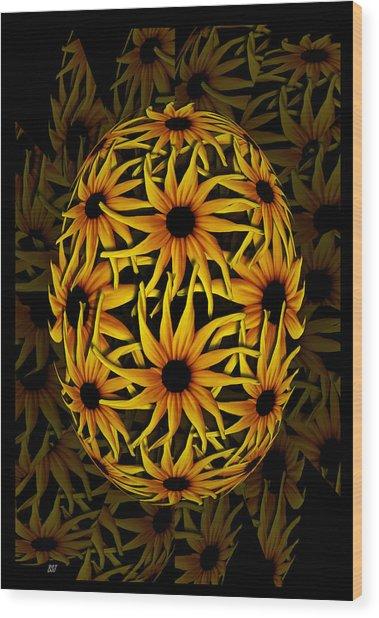 Yellow Sunflower Seed Wood Print