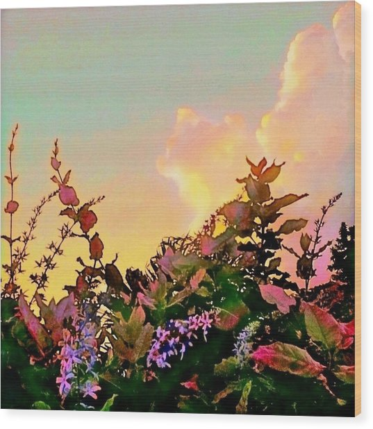 Yellow Sunrise With Flowers - Square Wood Print