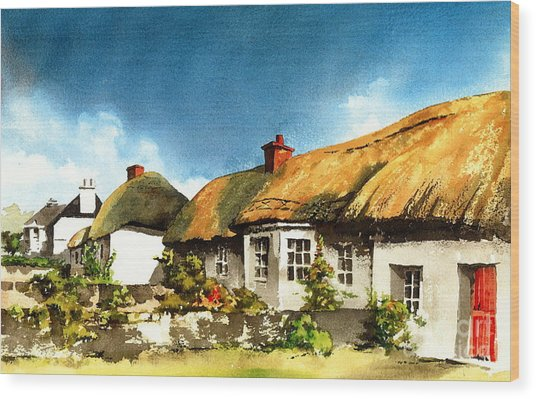 Yellow Thatch In Adare  Limerick Wood Print