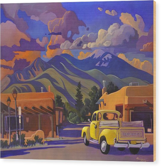 A Yellow Truck In Taos Wood Print