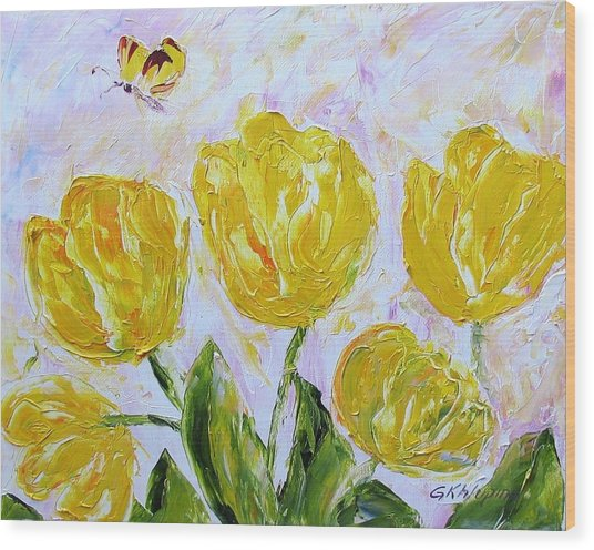 Yellow Tulips And Butterfly Wood Print