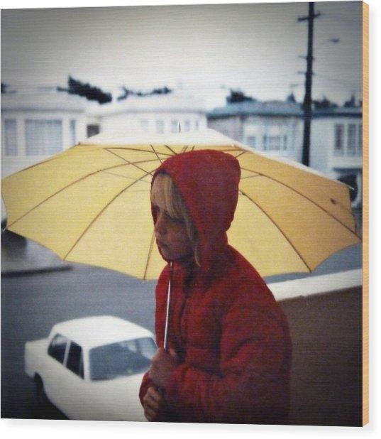 Yellow Umbrella - Polaroid 1976 Wood Print