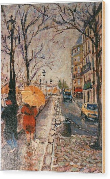 Yellow Umbrella Wood Print