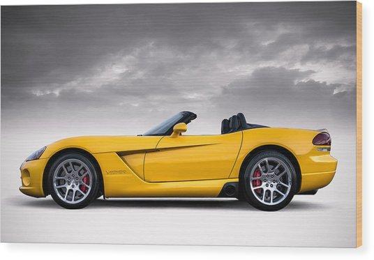 Yellow Viper Roadster Wood Print