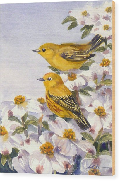 Yellow Warblers Wood Print