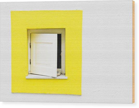 Yellow Window Wood Print