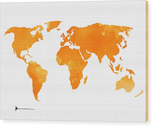 Yellow World Map Silhouette For Sale