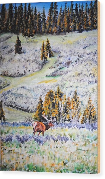 Yellowstone Elk Wood Print by Tracy Rose Moyers