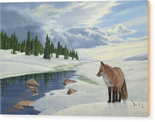 Yellowstone Fox Wood Print