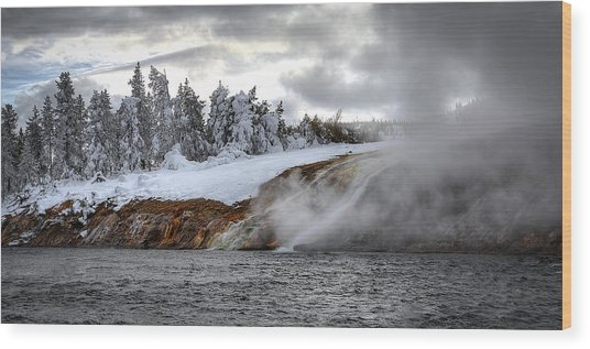 Yellowstone's Fire And Ice Wood Print