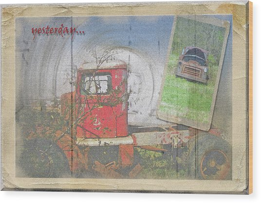 Yesterday Trucks Postcard Wood Print by Larry Bishop