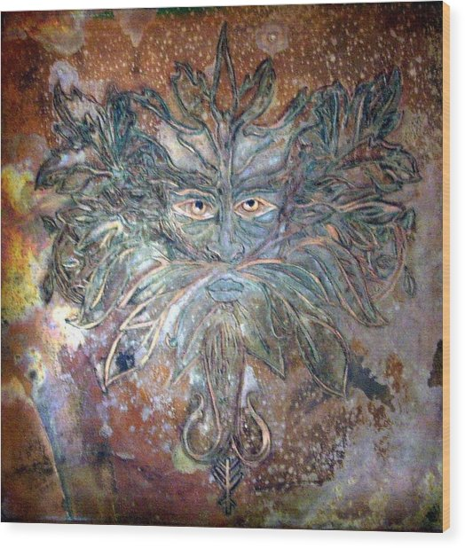 Wood Print featuring the mixed media Yggdrasil Rune Greenman by Shahna Lax