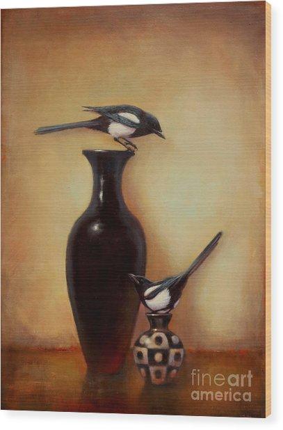 Yin Yang - Magpies  Wood Print
