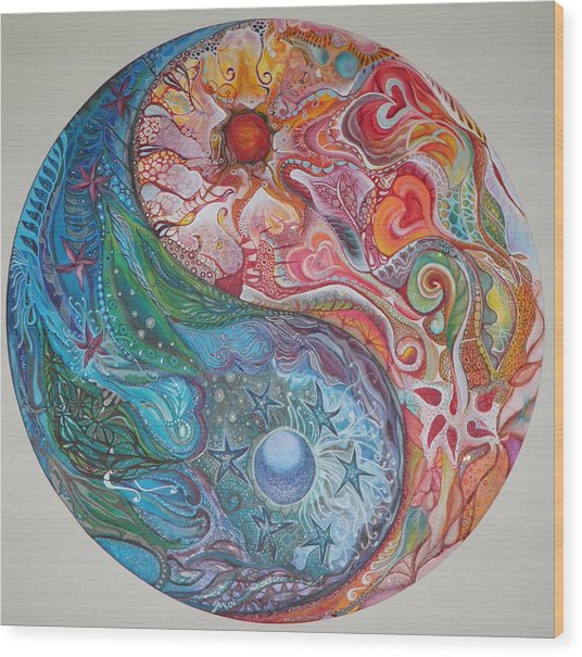 Yin Yang Mandala Wood Print by Moira Gil