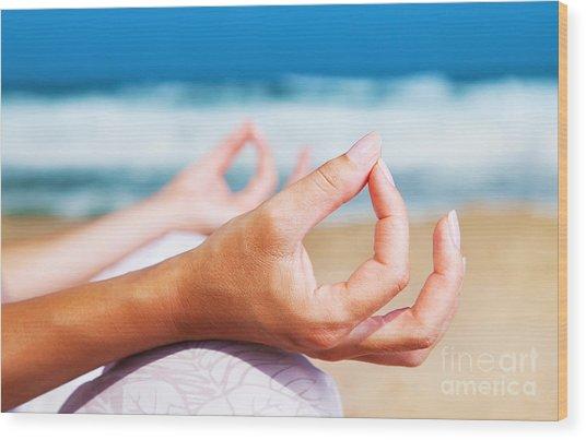 Yoga Meditation On The Beach Wood Print