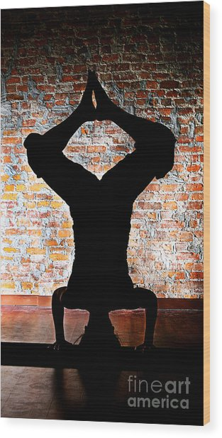 Yoga Silhouette 3 Wood Print by Shannon Beck-Coatney