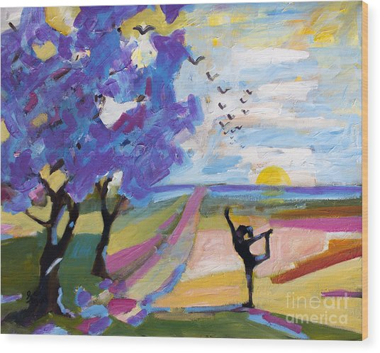 Yoga Under The Jacaranda Trees Wood Print