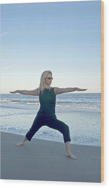 Yoga Woman On The Beach Wood Print